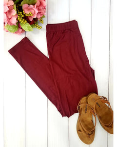 Simply Soft Everyday Butter Soft Full Length Leggings in Burgundy Wine - Essentially Elegant