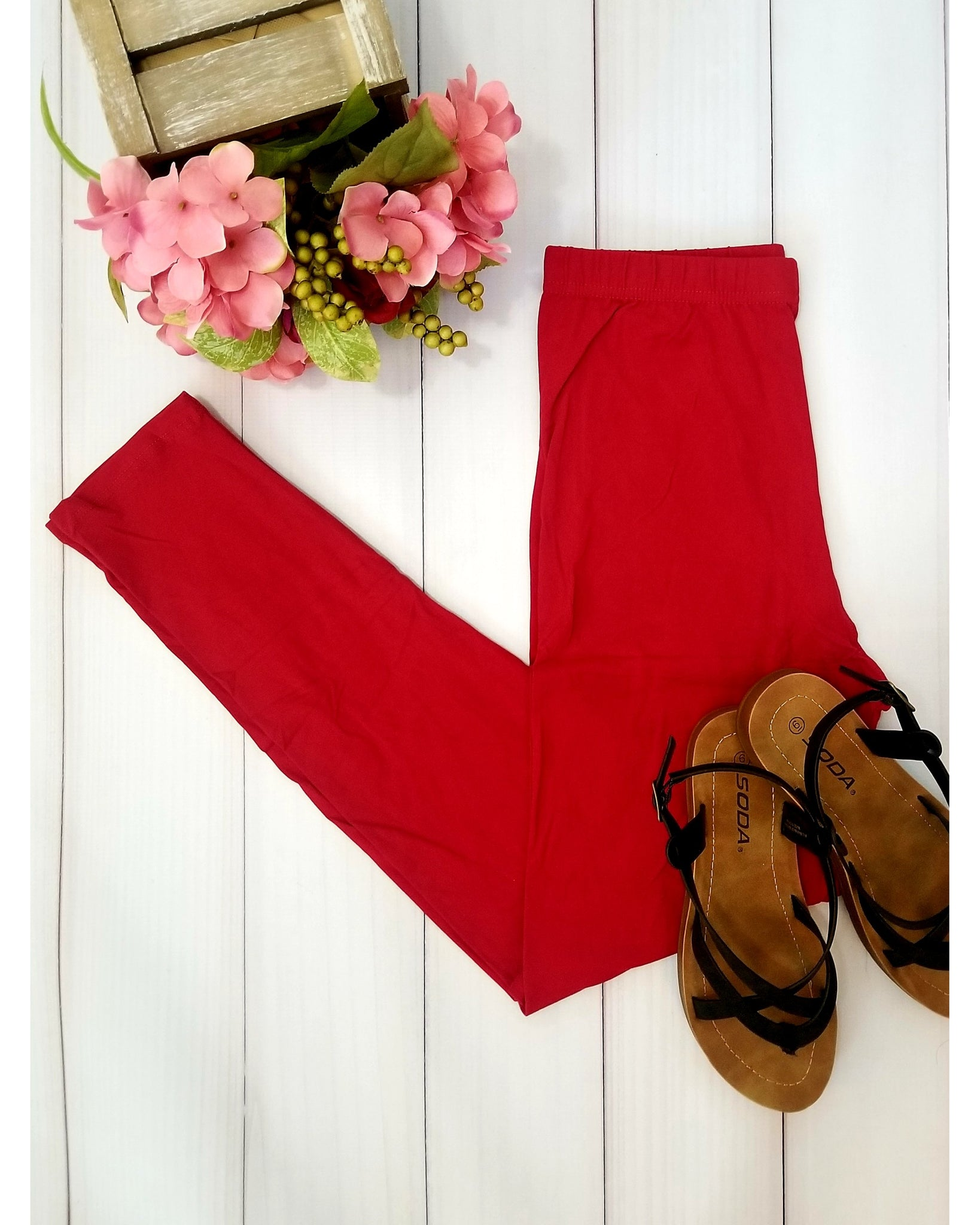 Simply Soft Everyday Butter Soft Full Length Leggings in Red - Essentially Elegant