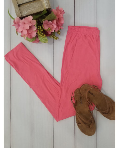 Simply Soft Everyday Butter Soft Full Length Leggings in Coral - Essentially Elegant