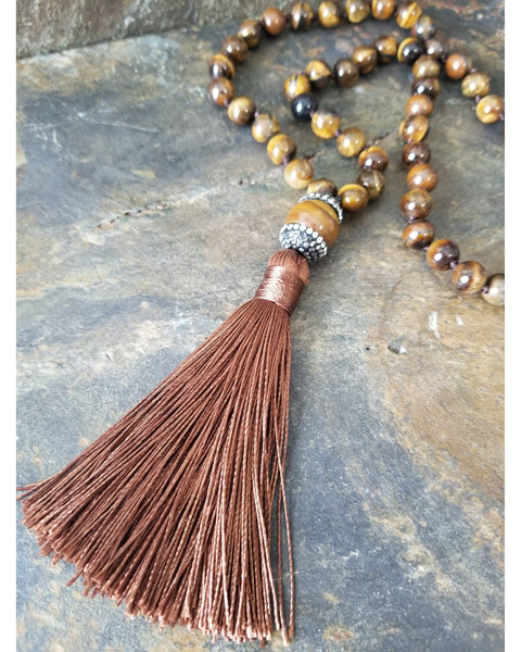 Tiger Eye Beaded Fashion Statement Necklace with Rust Brown Silk Tassel - Essentially Elegant