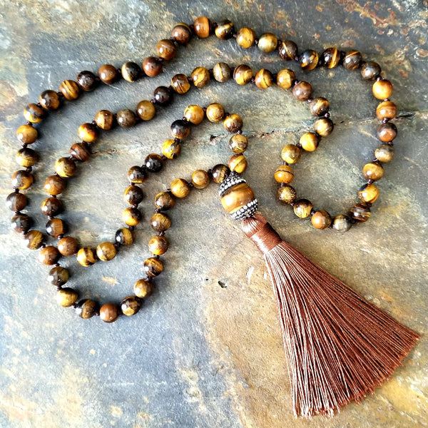 Tiger Eye Beaded Fashion Statement Necklace with Rust Brown Silk Tassel