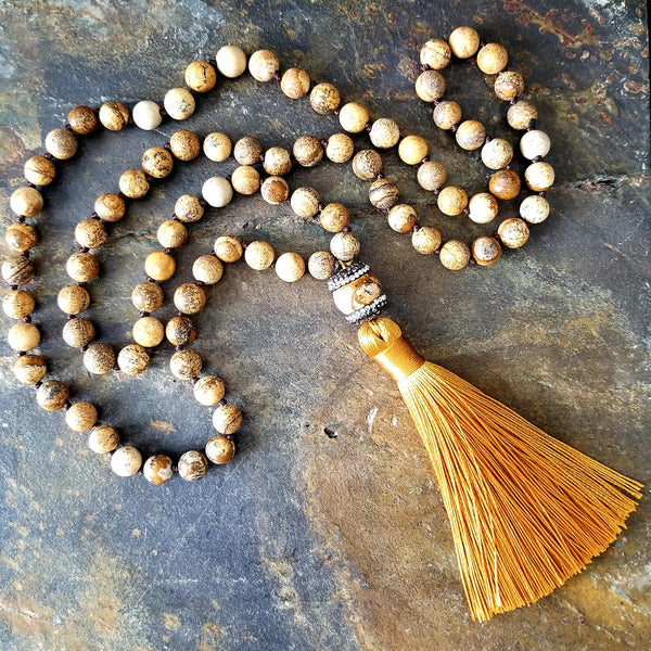 Picture Jasper Beaded Fashion Statement Necklace with Mustard Tassel - Essentially Elegant