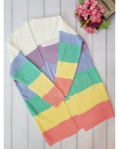 Spring Beauty Striped Open Front Cardigan