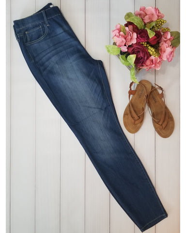 Restocked!! Cello Mid Rise Pull On Deluxe Comfort Skinny Jeans - Dark Denim - Plus Size - Essentially Elegant