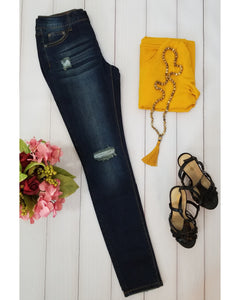 Rock & Royal Mid Rise Distressed Skinny Jeans - Dark Wash - Essentially Elegant