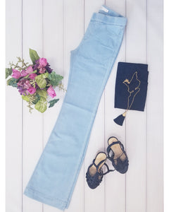 RESTOCKED!!! Cello Mid Rise Pull On Deluxe Comfort Flare Jeans - Light Denim - Essentially Elegant
