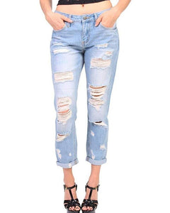 Cello Mid Rise Heavily Distressed Slim Straight Boyfriend Jeans - Essentially Elegant