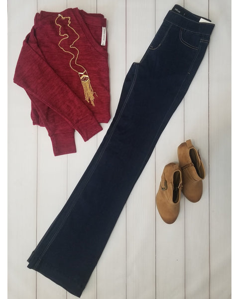 NEW ARRIVAL!!! Cello Mid Rise Deluxe Comfort Pull On Flare Jeans - Dark Blue with Stitching - Essentially Elegant