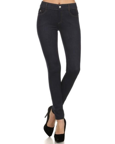 Yelete Super Stretchy Skinny Jeggings in Dark Blue Denim - Essentially Elegant