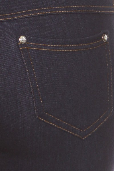 cf8410dd7d8c7 ... Yelete Super Stretchy Skinny Jeggings in Dark Blue Denim - Essentially  Elegant ...