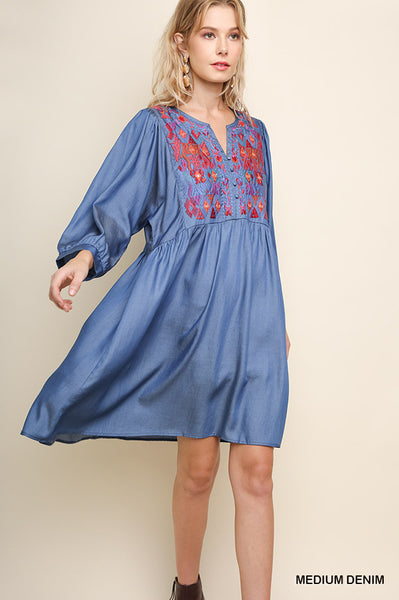 Umgee Embroidered Babydoll Tunic Dress