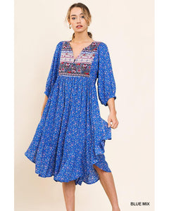 Delilah Peasant Dress with High Split Double Ruffle Side Hem in Blue - Essentially Elegant
