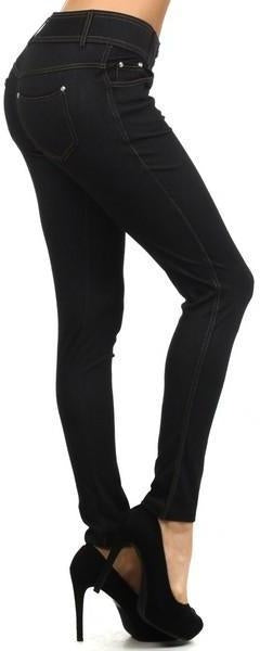 Yelete Super Stretchy Skinny Jeggings in Black - Essentially Elegant