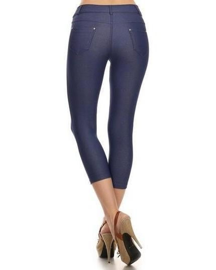 Yelete Skinny Capri Jeggings in Dark Blue Denim - Essentially Elegant