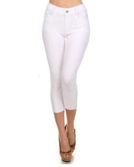 Yelete Skinny Capri Jeggings in White - Essentially Elegant