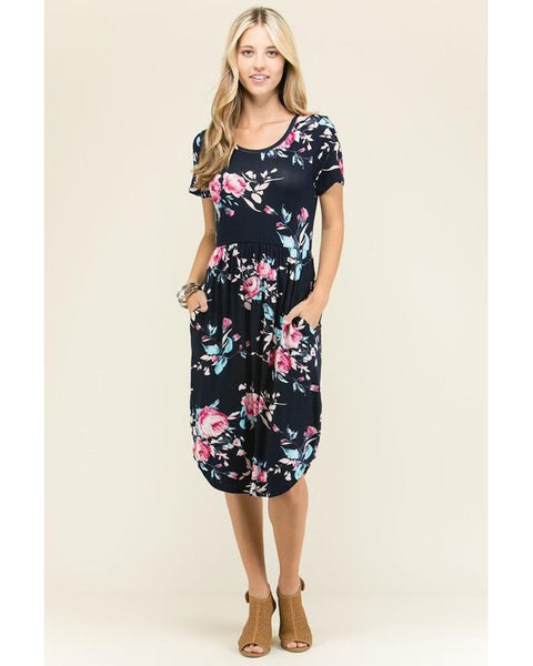 Graduation Day Floral Print Midi Dress with Short Sleeves and Pockets in Navy - Essentially Elegant