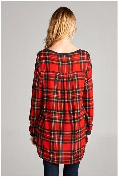 Charcoal and Plaid Long Sleeve Top - Essentially Elegant