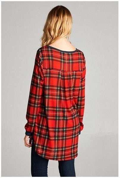 Navy and Plaid Long Sleeve Top - Essentially Elegant