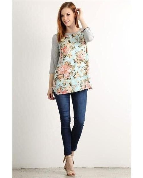 Spring Break Mint And Gray Floral 3/4 Sleeve Top - Essentially Elegant