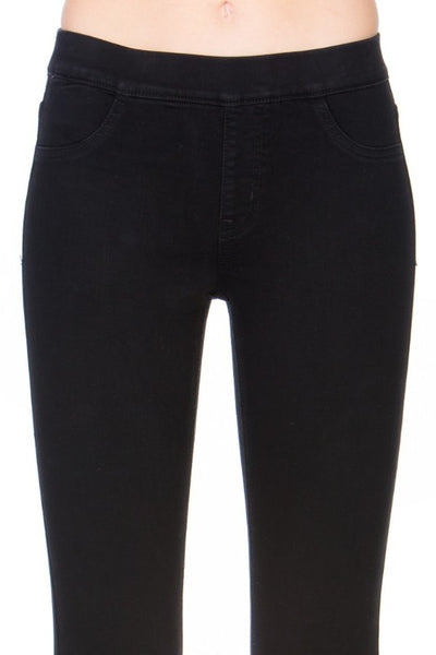 Cello Mid Rise Pull On Deluxe Comfort Flare Jeans - Black - Essentially Elegant