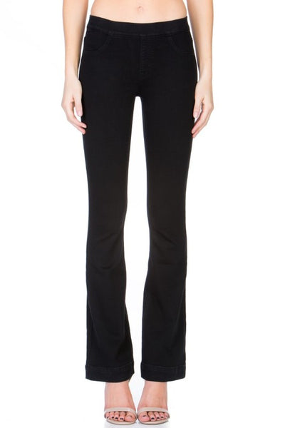 Cello Mid Rise Pull On Deluxe Comfort Flare Jeans - Black - Petite - Essentially Elegant