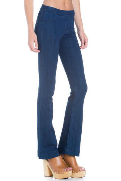 Cello Mid Rise Pull On Deluxe Comfort Flare Jeans - Dark Blue Denim - Petite - Essentially Elegant
