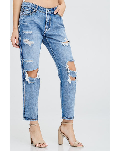 KanCan Mid Rise Destroyed Boyfriend Jeans - Essentially Elegant