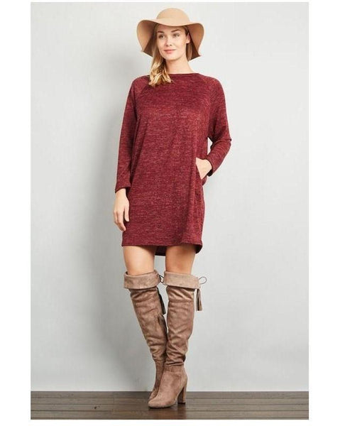 Burgundy Raglan Long Sleeve Tunic Dress with Pockets - Essentially Elegant