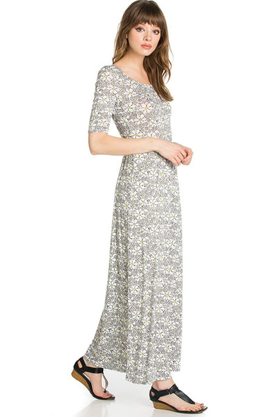 Field of Daisies Floral Fitted Maxi Dress - Essentially Elegant