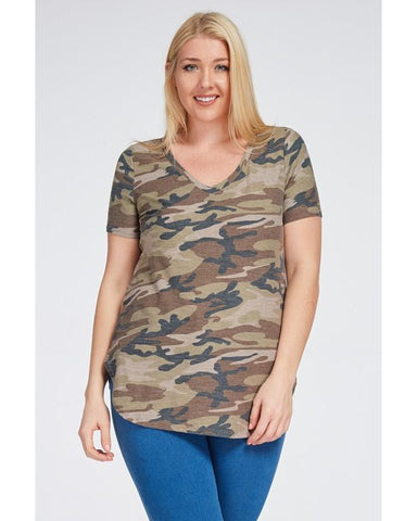 She's Killing It Camo Print Short Sleeve V-Neck Top - Essentially Elegant