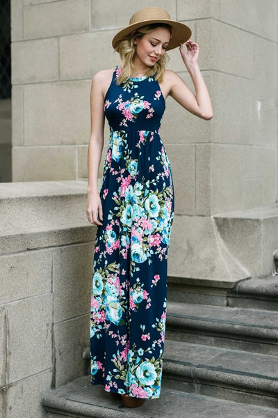 A Touch of Perfection Navy Floral Print Sleeveless Maxi Dress with Pockets - Essentially Elegant