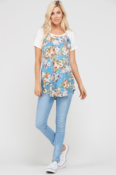 Happy Hour Floral Print Short Sleeve Top - Blue - Essentially Elegant