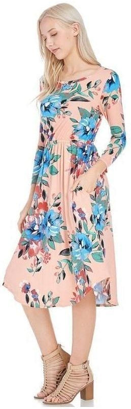 Dear To Me Floral Print Midi Dress with 3//4 Sleeves and Pockets in Blush