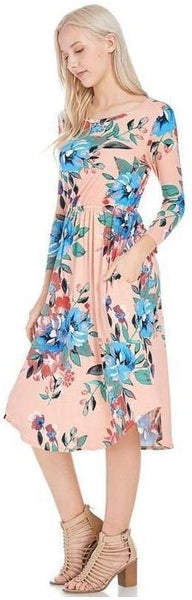 Dear To Me Floral Print Midi Dress with 3/4 Sleeves and Pockets in Blush - Essentially Elegant