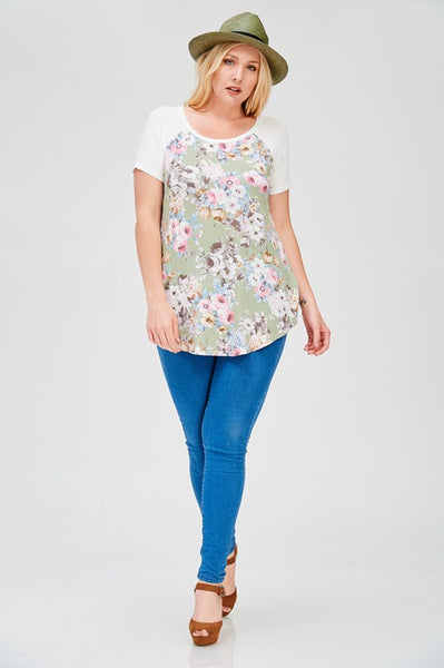 Happy Hour Floral Print Short Sleeve Top - Sage - Essentially Elegant
