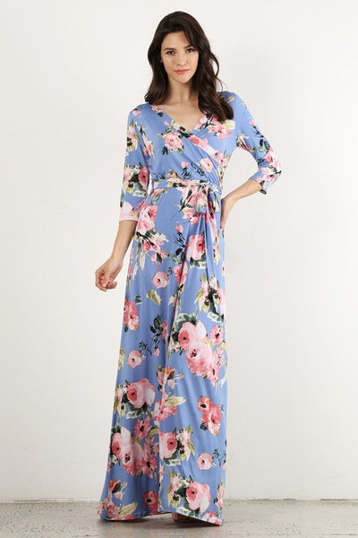 Wrapped in Luxury Floral Print Faux Wrap Maxi Dress with 3/4 Sleeves & Waist Tie in Blue