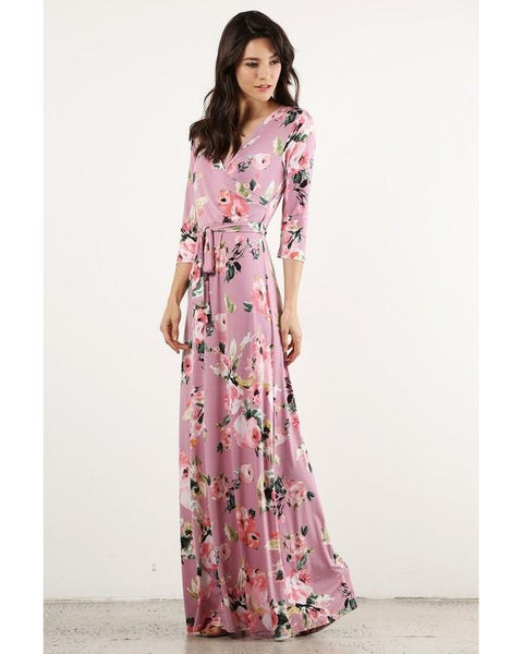 Wrapped in Luxury Floral Print Faux Wrap Maxi Dress with 3/4 Sleeves & Waist Tie in Mauve Pink - Essentially Elegant
