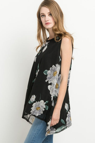 Silver Linings Sleeveless Floral Print Tunic Top - Essentially Elegant