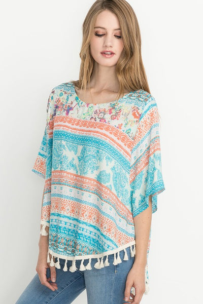 Drop of Sunshine Paisley Print Tassel Hem Top in Coral - Essentially Elegant