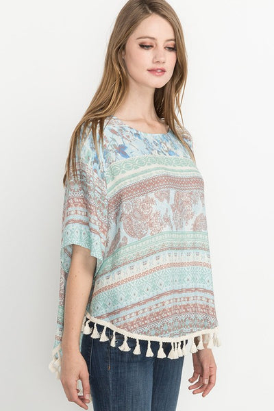 Drop of Sunshine Paisley Print Tassel Hem Top in Mint - Essentially Elegant