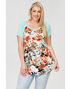 Lost in the Moment Floral Print and Mint Short Sleeve Top - Essentially Elegant
