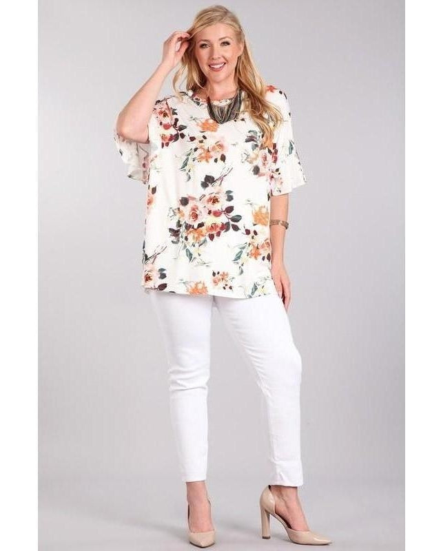 Step Into Spring Ivory and Floral Knit Top with Bell Sleeves - Essentially Elegant