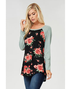 Impressions Mint And Black Floral Long Sleeve Top - Essentially Elegant