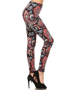 Coral and Navy Floral Pattern Butter Soft Print Leggings - Essentially Elegant