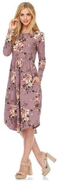 Moonlite Path Floral Print Midi Dress with Round Hem and Pockets in Mauve - Essentially Elegant