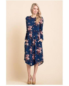Moonlite Path Floral Print Midi Dress with Round Hem and Pockets in Navy - Essentially Elegant