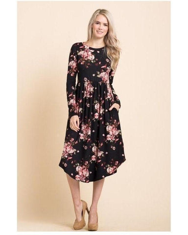 Moonlite Path Floral Print Midi Dress with Round Hem and Pockets in Black - Essentially Elegant