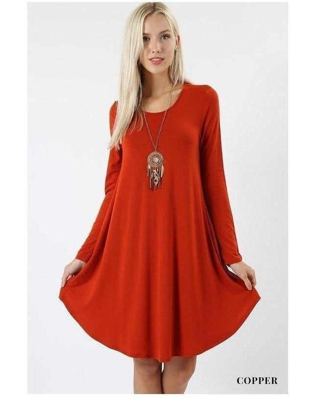 Copper Long Sleeve Round Hem A-Line Dress with Pockets - Essentially Elegant