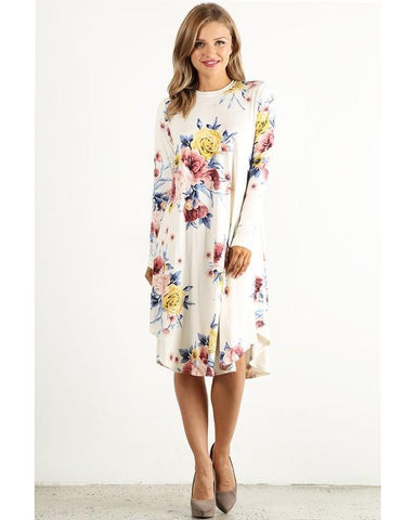 Keep Them Guessing Long Sleeve Floral Print Midi Dress - Essentially Elegant