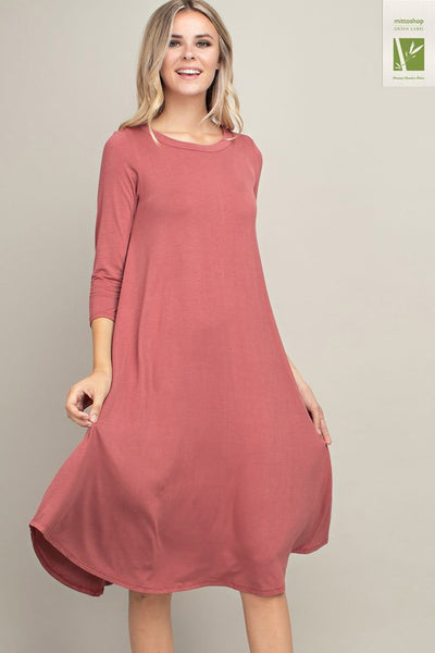 Bamboo Fabric Midi Dress with 3/4 Sleeves and Pockets in Marsala - Essentially Elegant